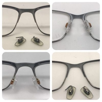 Glasses nose pads arms welding