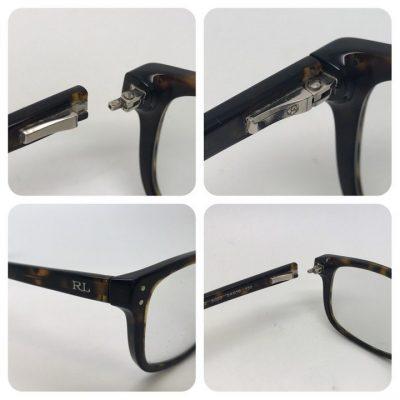 Plastic glasses spring hinge welding