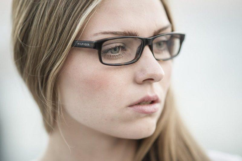 Girl wearing hilfiger eyeglasses